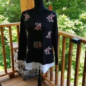 Charter club knit top with faux shirt tail